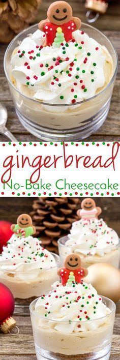 Looking for an easy and festive holiday dessert? These No-Bake Gingerbread Cheesecakes are perfect!