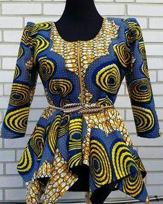 SALES READY TO Ship -African women blouse Wax Print Zip up Asymmetric Peplum Top,Front Zipper jacket blouse. African print blouse u-neck and zipper in front ,Asymmetric peplum top to wear with skirt or pant. African Print Dresses, African Print Fashion, Africa Fashion, African Fashion Dresses, African Dress, African Blouses, African Tops, African Women, African Attire