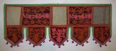 VINTAGE EMBROIDER TORAN INDIAN HANDICRAFTS PATCHWORK WINDOW VALANCE TOPPER VR32 #Handmade