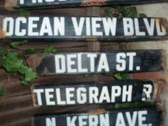 Porcelain Street Signs OCEAN VIEW BLVD   c.1920 by TreasureTramps2, $50.00