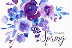 Watercolor Floral Clipart Bright Roses Flowers Branches Leaves Ruby Red Violet Rose Clip Art / Digital Florals PNG Set Free Commercial Use Blue Roses, Purple Flowers, Watercolor And Ink, Watercolor Flowers, Watercolour Tips, Watercolor Paintings, Blush, Flower Clipart, Creative Sketches