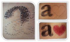 Madeira + prego + linha = Quadro de coração! Arteiras de Coração - www.arteirasdecoracao.com.br