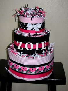 hot pink, black & white diaper cake