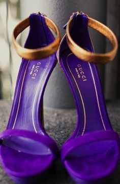 gucci royal purple + gold heels