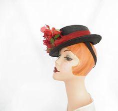Vintage 1940s hat forward tilt hat black straw red roses
