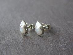 Small Teardrop Sterling silver  Stud EarringsOpal by crocusart, $23.00