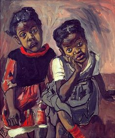 Alice Neel (1900 - 1984)  TWO GIRLS, SPANISH HARLEM, 1959  Oil on canvas  30 x 25 inches  76.2 x 63.5 centimeters