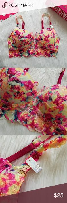 Victoria's Secret PINK Push Up Lace Bralette Small Victoria's Secret PINK Push Up Lace Bralette Size small Strap tag says small accomodates this range of bra sizes: 32c 32d 34a 34b 34c 34d New with tag  Stunning rose lace in rainbow tie dye print Signature pink inner lining Underwire for support Adjustable shoulder straps Pull-on style with no clasps  Body lace: 87% polyamide, 13% elastane Lace trim: 89% polyamide, 11% elastane PINK Victoria's Secret Intimates & Sleepwear Bras