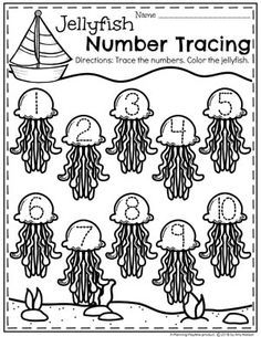 Preschool Ocean Theme Worksheets Number Tracing Jellyfish