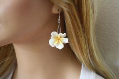 Flower Earrings Hawaiian Jewelry Plumeria Hawaii by DRaeDesigns