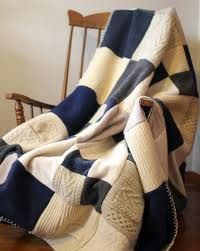 Patchwork quilt made from old sweaters.  This looks like a very easy and fun project!