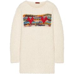 Missoni Intarsia chunky-knit sweater (4,190 SAR) ❤ liked on Polyvore featuring tops, sweaters, missoni sweater, heart print sweater, pink top, colorful tops and intarsia sweaters