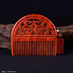 Wild lobular red sandalwood carved wooden crafts wooden comb anti-static comb #muji