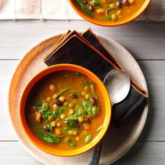 Pumpkin-Lentil Soup Recipe -I was really craving a hot delicious soup—something filling and healthy. I looked around my kitchen for a few ingredients, then created this recipe. Pumpkin adds creamy richness and body. —Amy Blom, Marietta, Georgia