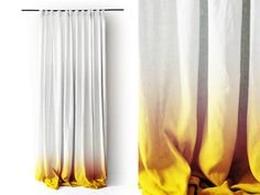 Reserved. White Linen curtain panel Ombrè Yellow fade to white. Pinch pleat Number 3 by Lovely Home Idea.