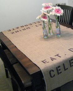 Burlap table runner  stenciled by zincsquare on Etsy, $30.00