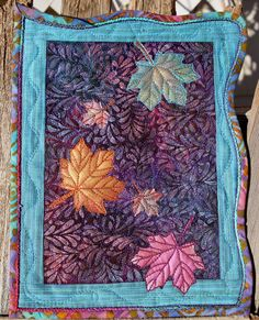 Only 8x10. Shiva paint stick leaves, couching, double needle quilting in border.