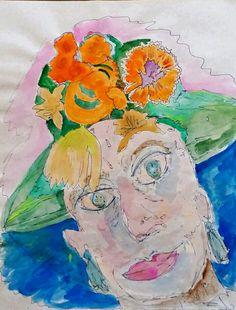 Green hat watercolor sketch art Journal visual diary