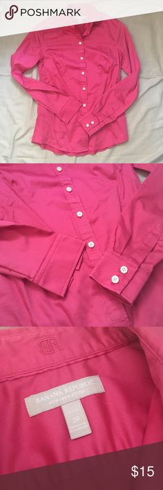 Pink Banana Republic Non-Iron Fitted Dress Shirt Fuschia pink button down from Banana Republic. Wrinkle free and has a little stretch to keep it smooth all day. Banana Republic Tops Button Down Shirts