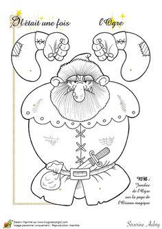 Coloriage d'une marionnette articulée, un ogre, page 14 sur 14 sur HugoLescargot.com