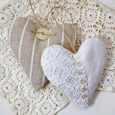 Another way of doing my vintage fabric lavender hearts! The white one!