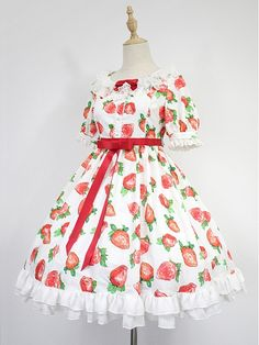 Strawberry Printed Empire Waist Short Sleeves OP by Souffle Song