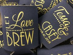 Keep your BREW cold and your guests will remember your wedding for years to come  Use code Pinterest for 15% off Wedding Koozies, Diy Wedding, Wedding Stuff, Free Graphics, Floral Centerpieces, Personalized Wedding, Drink Sleeves, Brewing, Cold