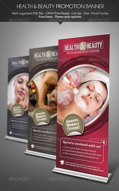 Health & Beauty - Promotion #Banner - #Signage Print #Templates Download here: https://graphicriver.net/item/health-beauty-promotion-banner/3041226?ref=alena994