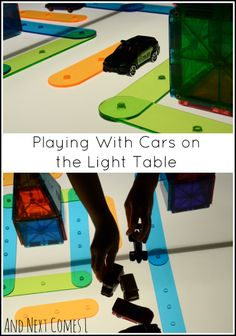 Playing with cars and building a translucent city on the light table to encourage imaginative play from And Next Comes L Educational Activities For Kids, Autism Activities, Sensory Activities, Reggio Emilia, Small Luxury Cars, Small World Play, Sensory Bins, Business For Kids, Light And Shadow