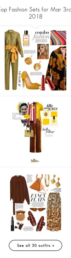 """""""Top Fashion Sets for Mar 3rd, 2018"""" by polyvore ❤ liked on Polyvore featuring Rhode Resort, Christian Louboutin, Paul Smith, Renee Lewis, Gucci, Anja, Chanel, jumpsuits, Lands' End and A.L.C."""
