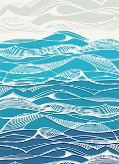 "Logo Discover ""Tempestuous Seas"" - Limited Edition Art Print by Gill Eggleston. Tempestuous Seas Wall Art Prints by Gill Eggleston Wave Drawing, Waves, Wave Art, Art Textile, Sea Art, Linocut Prints, Art Plastique, Landscape Art, Japanese Art"