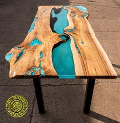 Live edge fresin river dining table with led lighting and image 7 Coffee Table To Dining Table, Wood Table, A Table, Turquoise Color, Light Turquoise, Tabletop, Origami, Art And Craft, Powder Paint