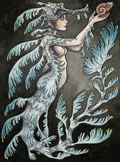 a Leafy Sea Dragon mermaid commission 2014 by Caitlin Hackett Fantasy Kunst, Fantasy Art, Muse Kunst, Celtic Dragon Tattoos, Leafy Sea Dragon, Muse Art, Mermaids And Mermen, Watercolor Artwork, Mermaid Art