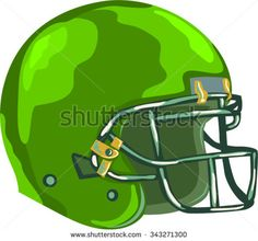 WPA style illustration of an american football green helmet headgear viewed from side set on isolated white background done in retro style.  - stock vector #football #wpa #illustration