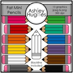 (I want to use for organizing colored pencils and crayons) 13 high quality graphics for personal and commercial use! -jpeg and png versions of each graphic -blackline included I created these for my Frida. Classroom Projects, Preschool Classroom, Classroom Organization, Classroom Management, Kindergarten, Pencil Clipart, Free Graphics, Copics, Printable Art