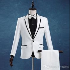 White Wedding Tuxedos Two-Button Groom Suit Set Groomsman Suit Wedding Party Business Suit (Jacket+Pants+Bow) Custom Made Wedding Tuxedos, Tuxedo Wedding, Green Tuxedo, Slim Fit Suits, Formal Suits, Groom And Groomsmen, Shirt Jacket, Custom Made, Bow