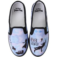Disney Peter Pan Never Grow Up Slip-On Shoes Hot Topic ($25) ❤ liked on Polyvore featuring shoes, disney shoes, slip-on shoes, slip on shoes, disney and synthetic shoes