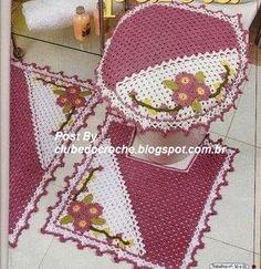 Clube do Crochê: Jogo de Banheiro Pink e Branco Bordado (com gráficos)