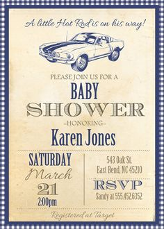Little Hot Rod Vintage Baby Shower Invite  Invitation with