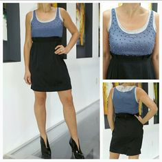 Chic beaded detailed dress NEW This chic high waisted dress features colors of cream, periwinkle blue and black. Cinched at the waist, cute beaded details at the top. Size small Skirt part:60%polyester 40%rayon Top 100%polyester Dresses