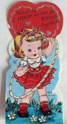 Three Vintage 1950's Childrens Valentine Made in USA Cute Girl Hula Hoop and Bear Glitter
