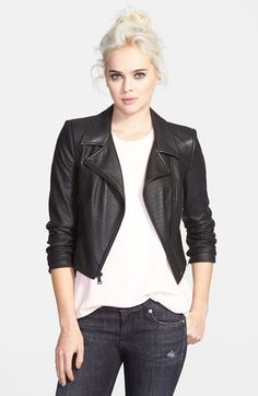 Free shipping and returns on Sam Edelman Perforated Faux Leather Moto Jacket at Nordstrom.com. The outer surface of a cropped moto jacket made of supple faux leather is dotted with pinhole perforations, while the interior is lined with supersoft cotton.