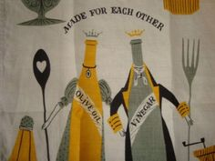 vintage tammis keefe dish towels Linen Towels, Dish Towels, Tea Towels, King Shoes, Perfect Together, Food Illustrations, Vinegar, Wedding Gifts, Graphics