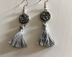 Beautiful Gunmetal Grey Druzy and grey tassel dangle earrings!!  Browse unique items from InspireDruzyJewelry on Etsy, a global marketplace of handmade, vintage and creative goods.
