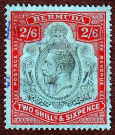 Bermuda Sc# 50 2/6d Red and Black on Blue Issue, U NG P14 Lt Cancel Chalky Paper
