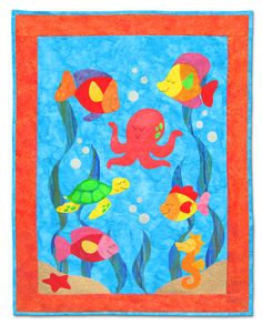 """Under The Sea quilt pattern measures 30 1/2"""" x 40 1/2"""". Doesn't it just make you want to dive in?!"""