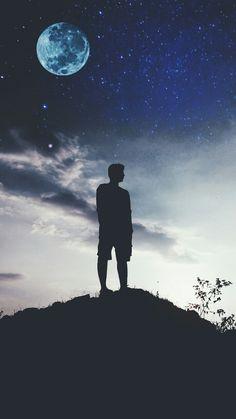 It's a sky full of stars. Alone Boy Wallpaper, Night Sky Wallpaper, Wallpaper Space, Boys Wallpaper, Sunset Wallpaper, Landscape Wallpaper, Scenery Wallpaper, Cute Wallpaper Backgrounds, Dark Wallpaper
