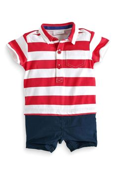 611ba6fc366 Buy Red And White Stripe Shirt Romper (0-18mths) from the Next UK