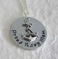 Hand Stamped Proud Navy Mom Necklace / Hand Stamped by kimgilbert3, $16.00