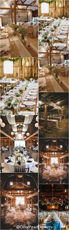 Rustic country barn wedding reception table decor / http://www.deerpearlflowers.com/barn-wedding-reception-table-decoration/